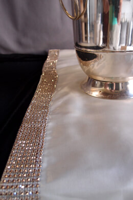 Ivory Silk Table Runner with Diamond Mesh Trimmed 14x72