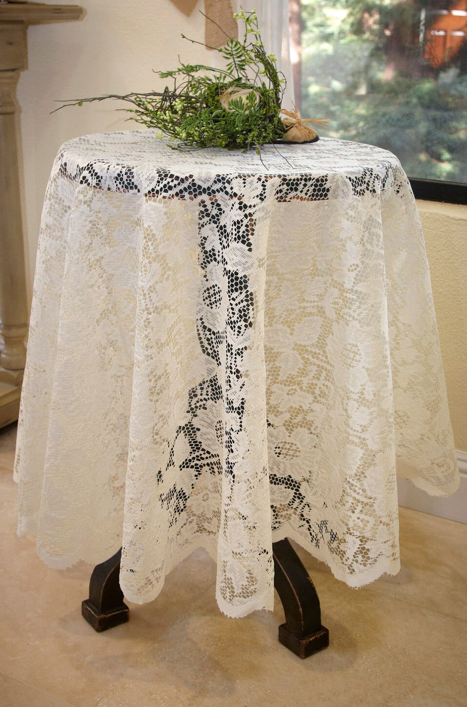 Tablecloth Lace Round Ivory 60 Quot