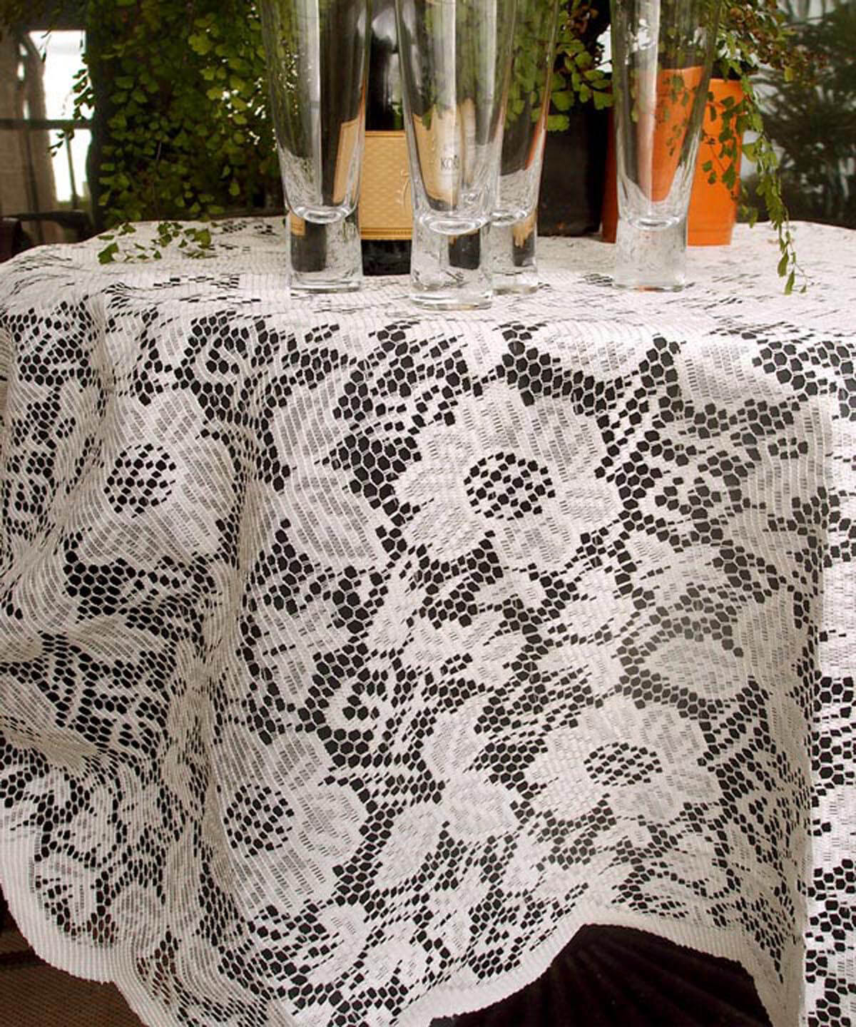 Tablecloth Lace Round Ivory 60