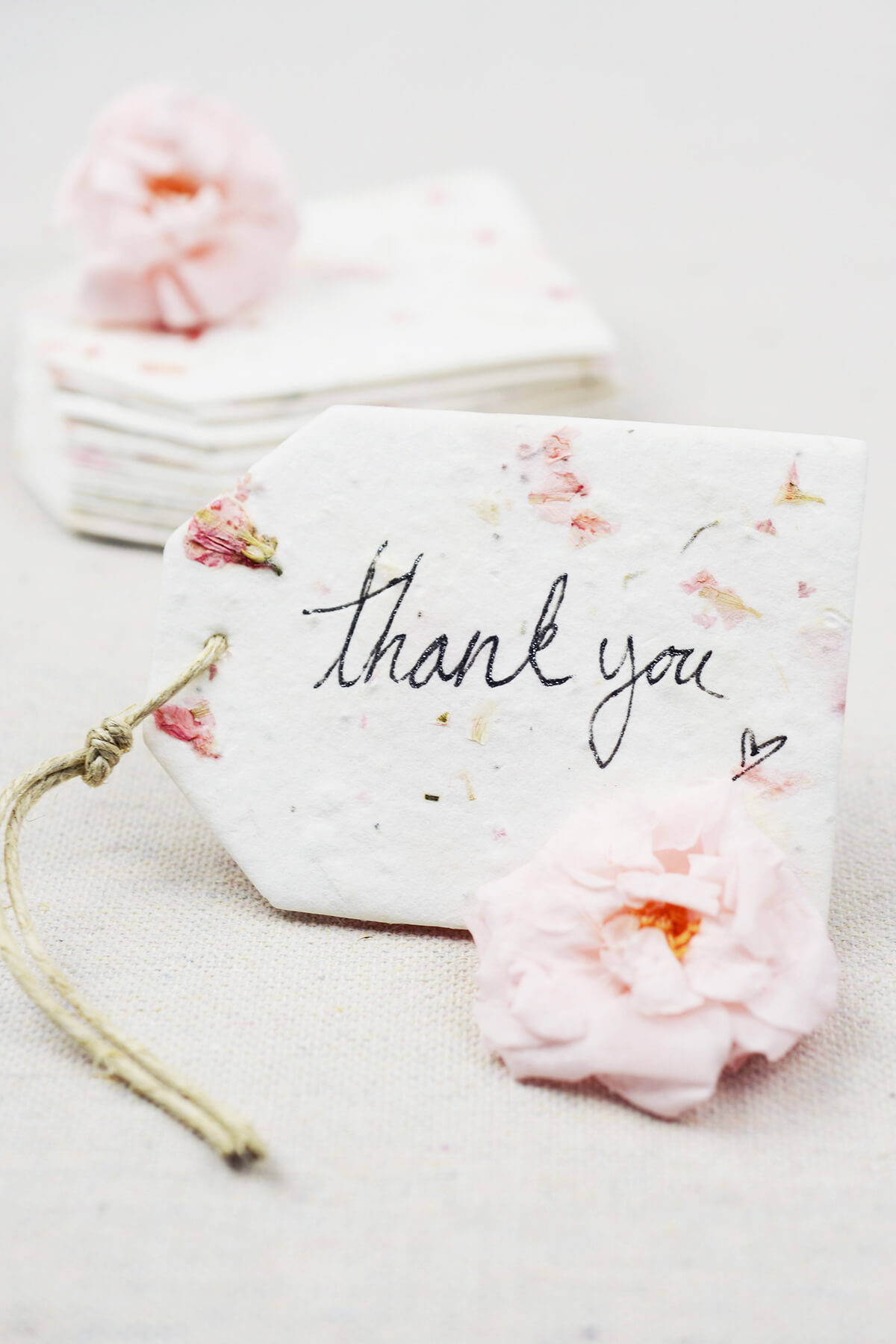 32 Pink Larkspur Petal Seeded Paper Tags 2.5\
