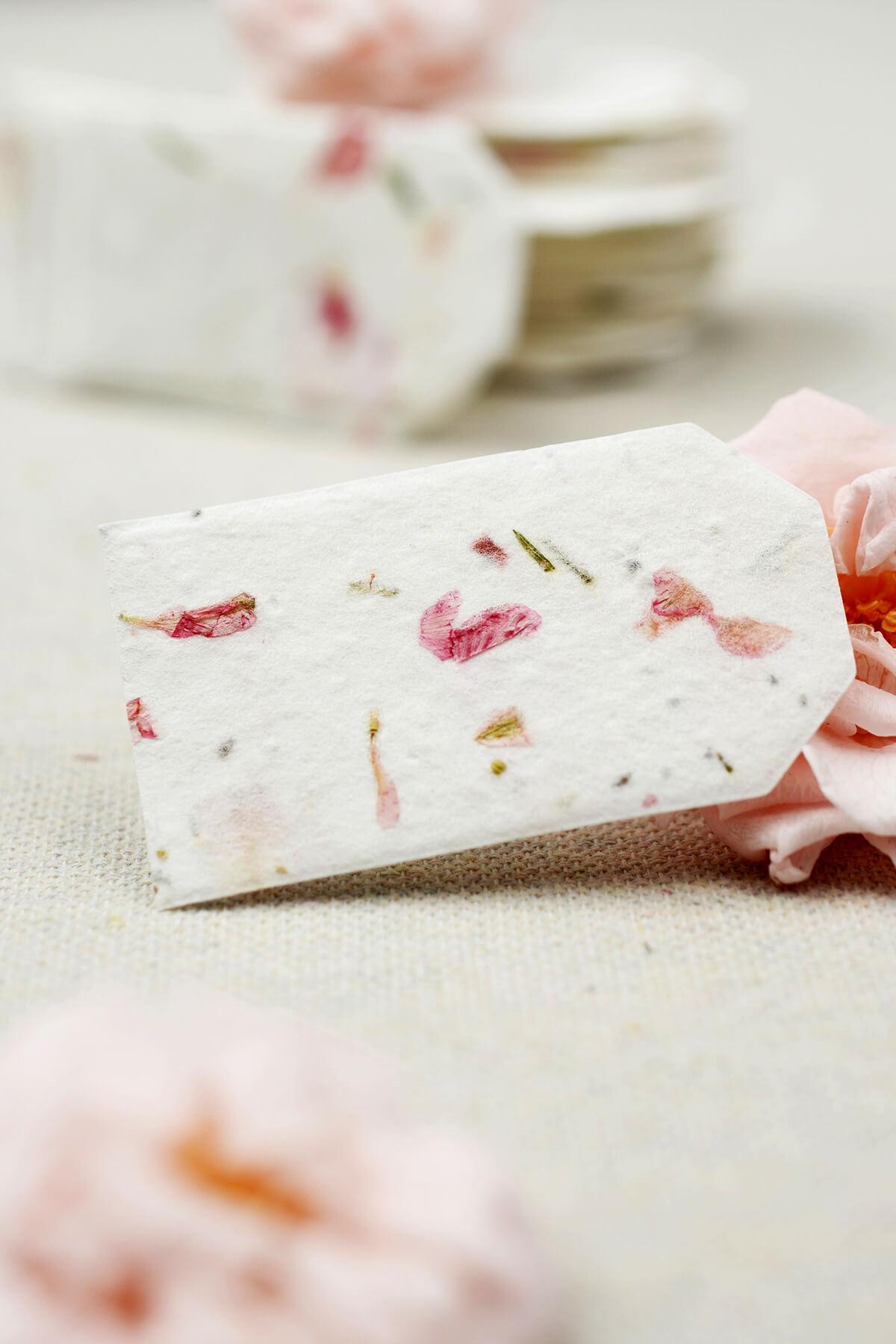 "50 Tiny Handmade Seeded Rose Petal Hang Tags 1.5"" x 2.25"""