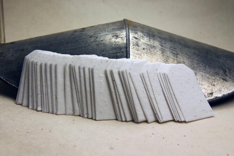 "50 Handmade Seeded Hang Tags 1.25"" x 2.25"""