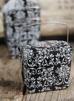 12 Small Black & White Damask Take Out Boxes  2.5in