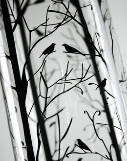 "Bird &  Branch 24"" Glass Cylinder Vase"