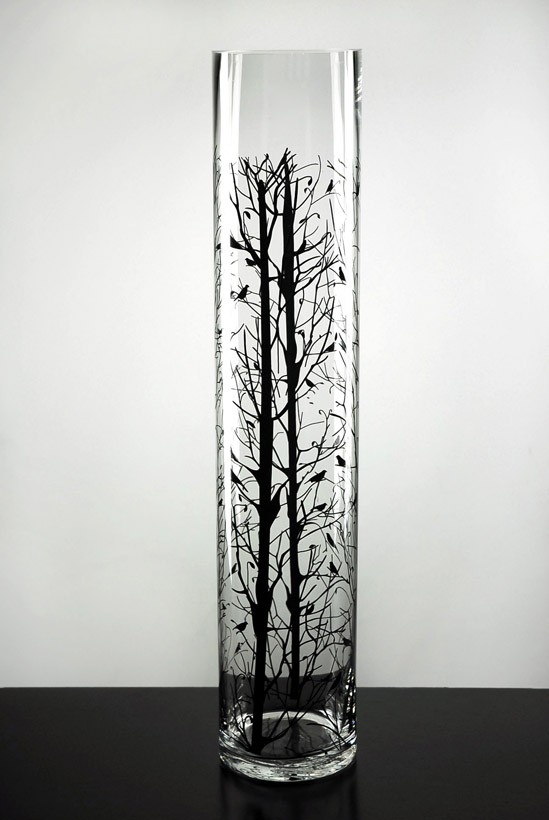 bird branch 24 glass cylinder vase. Black Bedroom Furniture Sets. Home Design Ideas