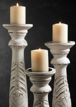 "3 White Washed Wood Candle Holders 18"", 15"" , 12"""