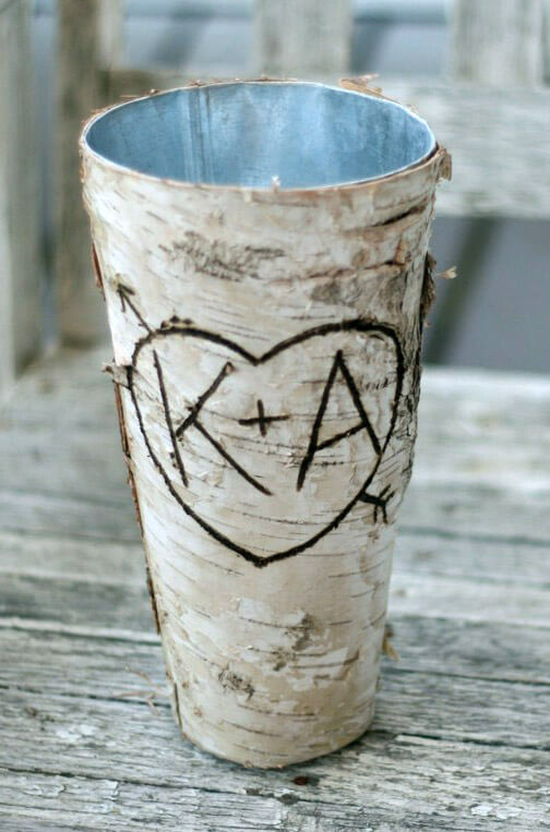 "Birch Bark Vases 9""  Zinc Vase Wrapped in Birch"