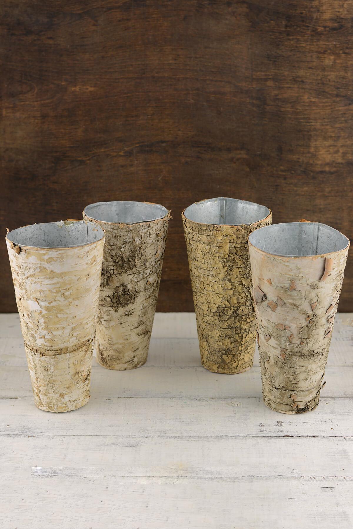Birch Covered Zinc Vase 9in