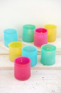 8 Multi Color Glass Tealight Holders Fleur de Lis