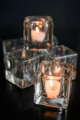 6 Cube Tealight Holders Thick Glass 2""