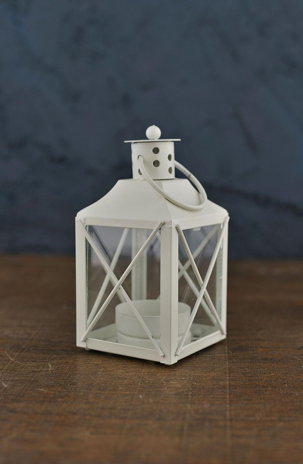 12 White Metal Amp Glass Tealight Lanterns
