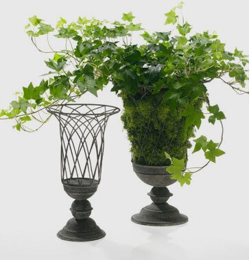 "Terrace French Wire Garden Urn 10""x 14"""