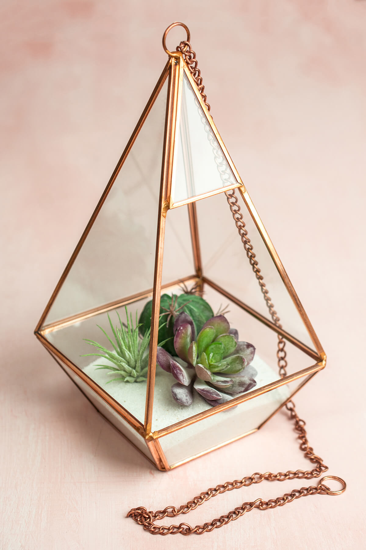 Copper Hanging 9 Quot Hexagonal Based Glass Amp Metal Terrarium