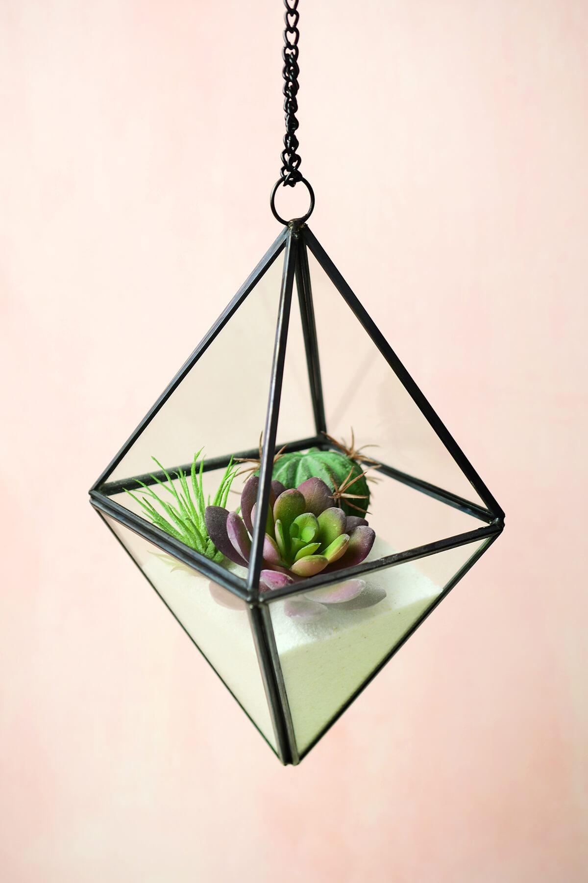 Hanging 8 Quot Octahedron Glass Amp Metal Terrarium