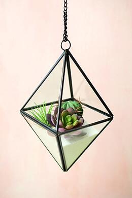 "Hanging 8"" Octahedron Glass & Metal Terrarium"