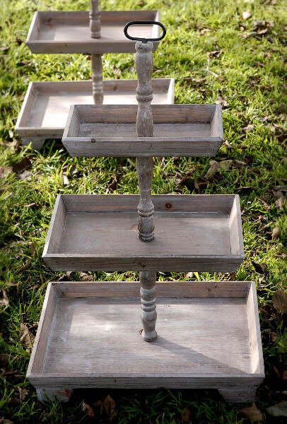 3 Tier Rustic Wood Stand Set Of 2 35in