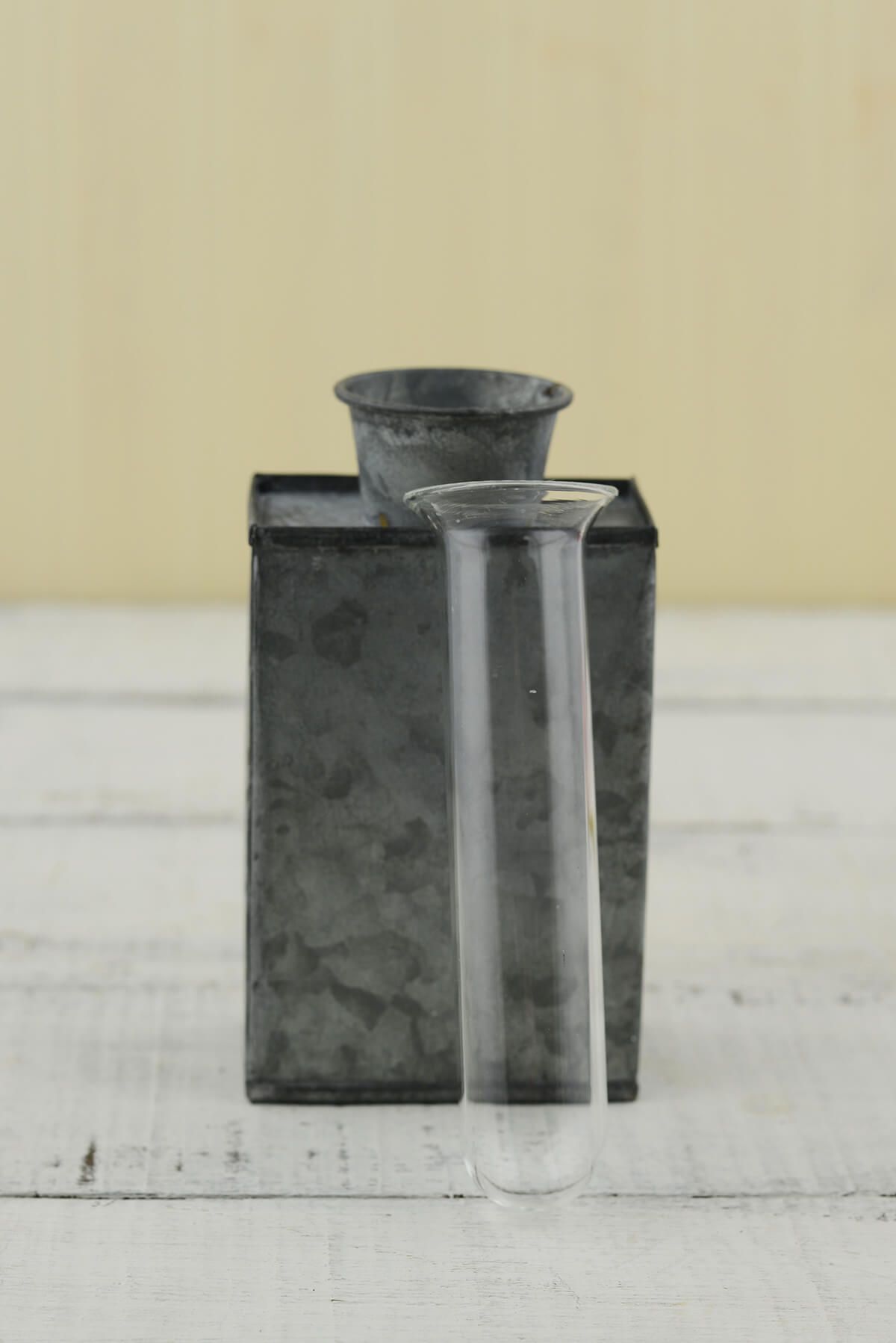Decorative Tin Vase with Glass Insert