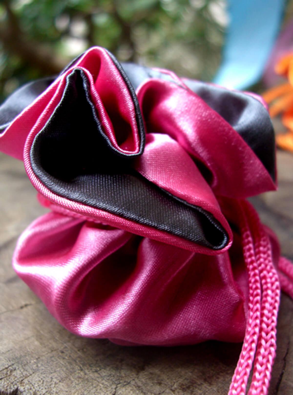 12 Tiny Satin Reversible Favor Bags  Fuchsia & Dark Grey