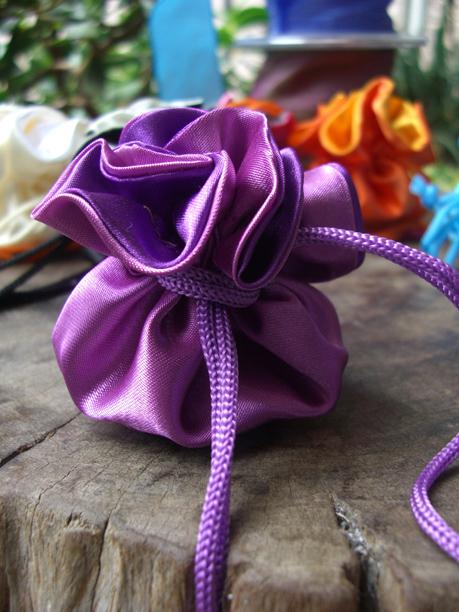 """12 Tiny 2.5"""" Satin Favor Bags Purple & Violet"""