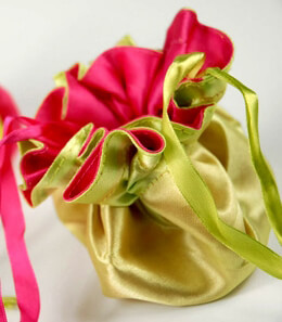 12 Tiny Satin Reversible Favor Bags Chartreuse & Hot Pink