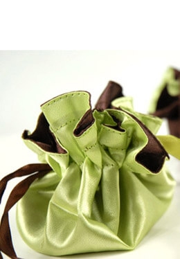 12 Tiny Satin Favor Bags Lime Green & Brown
