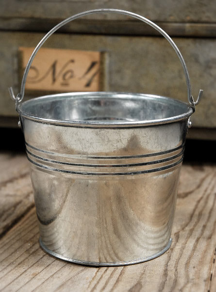 Galvanized Tiny 4in Metal Buckets With Handles