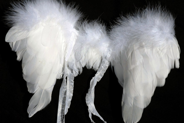 "Handcrafted Tiny 13"" Infant Feather Angel Wings  White Marabou Trimmed Wings"