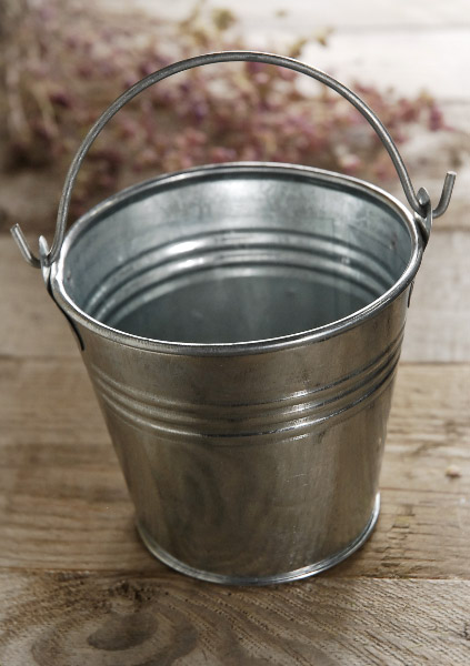 "Tiny Galvanized Buckets 3.5""   with Handles"