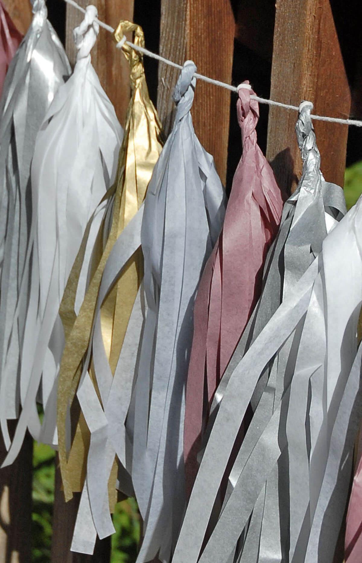 Tissue Paper Tassel Garland Kit Elegant Party Silver