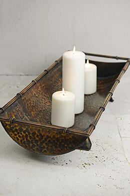 """Large Rectangular Metal Bamboo Trough Tray 27"""""""