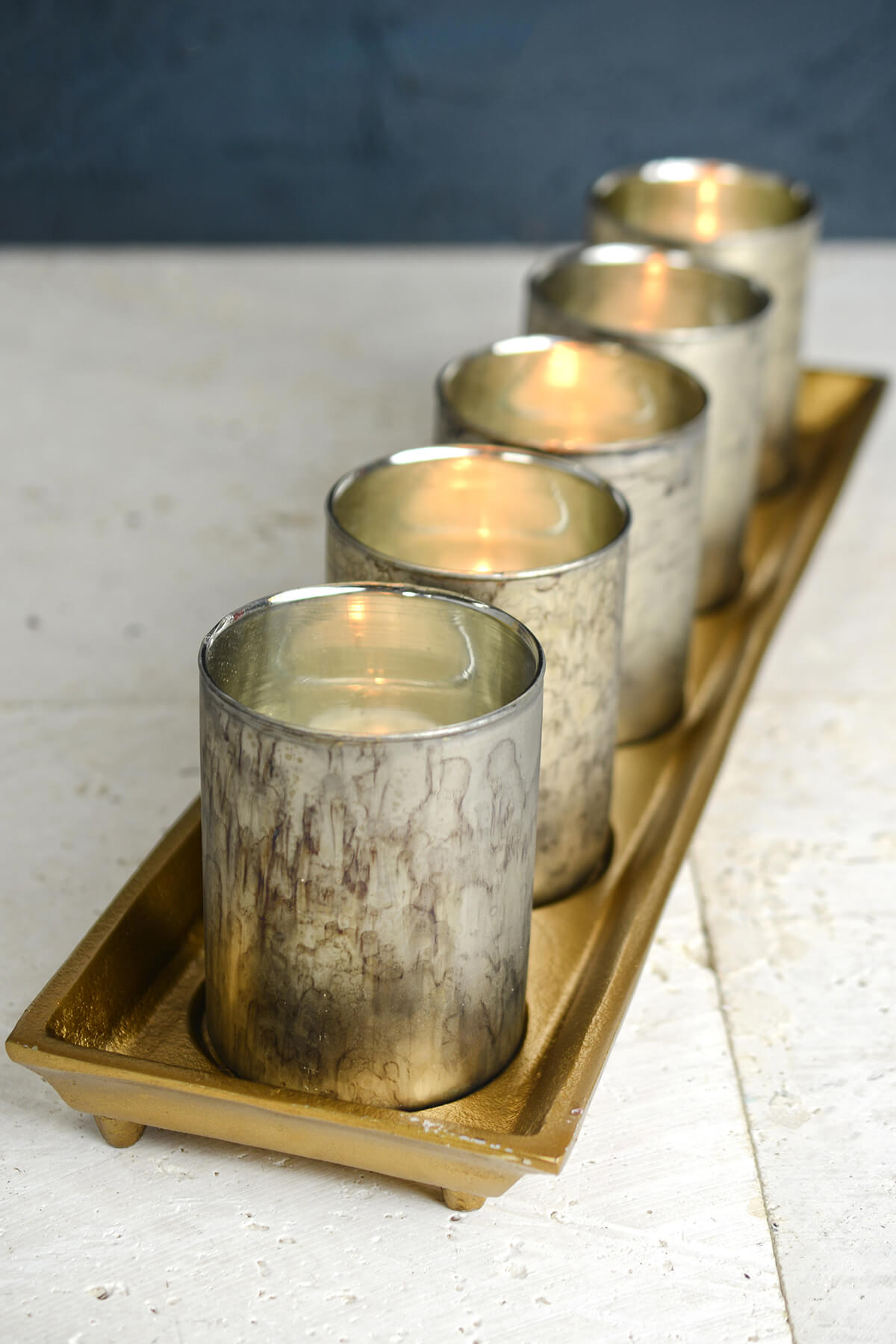 gold tray with 5 mercury glass votive candle holders 19 75in