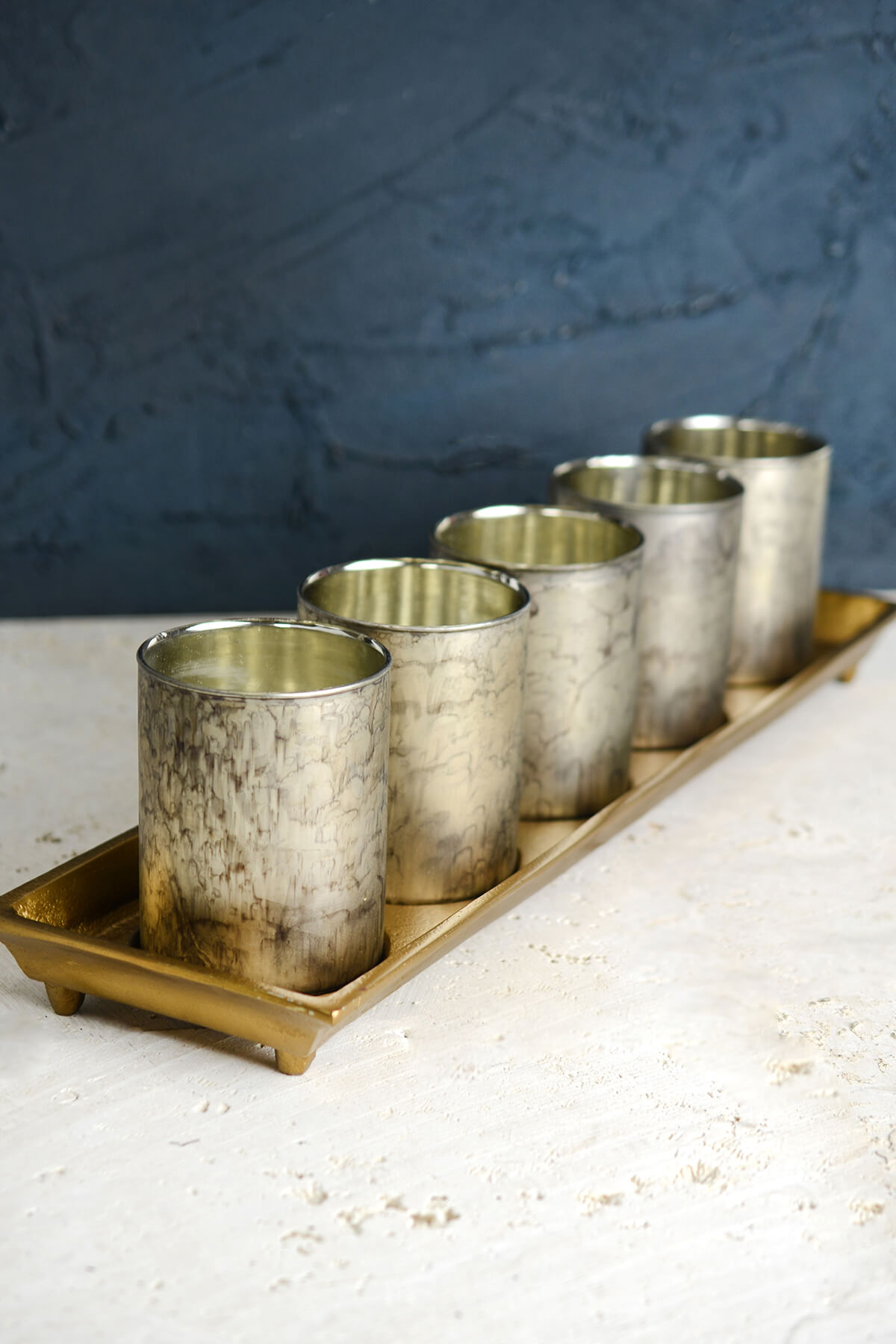 New Gold Tray with 5 Mercury Glass Votive Candle Holders 19.75in RW96
