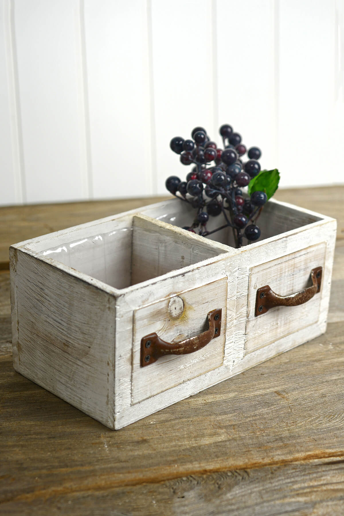 White Wood Drawer Planter Box 9in