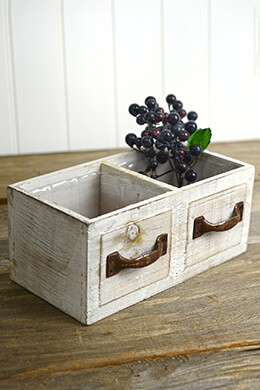 White Wood Drawer Planter Box  9in