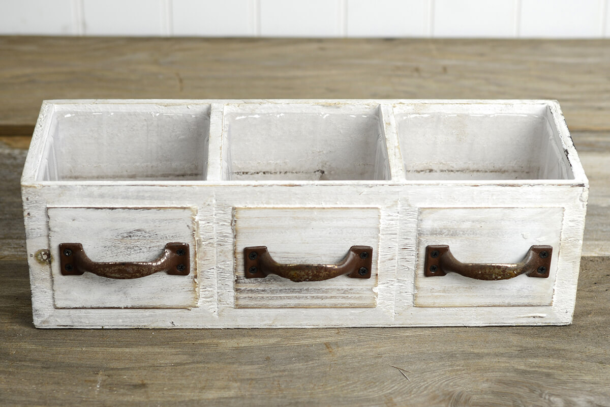 Wood Drawer Planter Box Drawer 3 Compartments 13in
