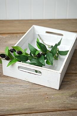 White Wood Rectangle Tray 9x13