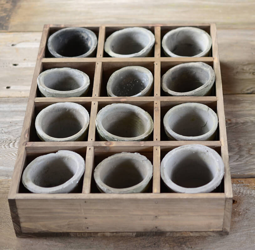 Vintage Wood Crate with 12 Cement Pots