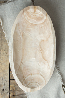 Natural Paulownia Wood Bowl 9x16in