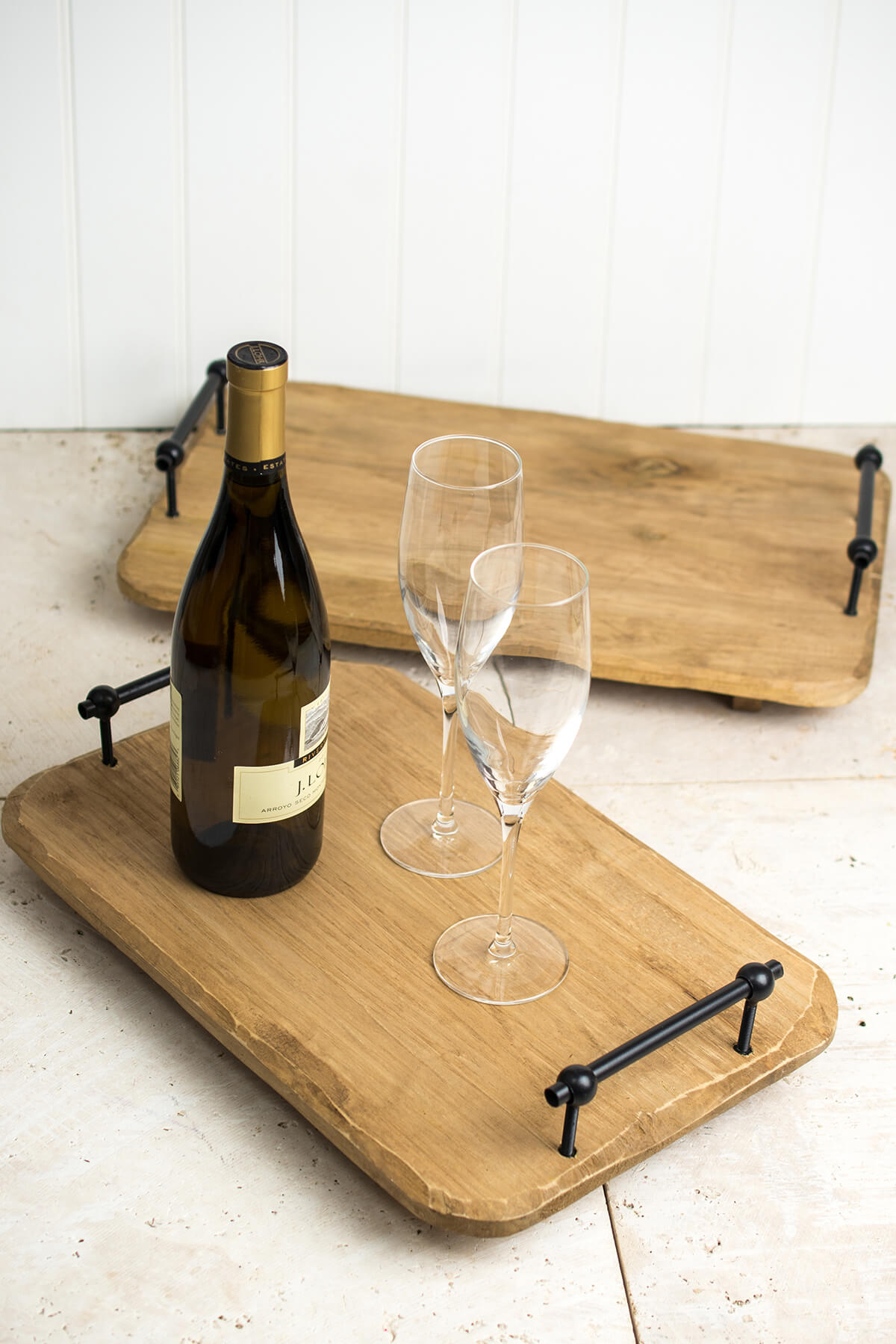 New Natural Wood Serving Trays with Metal Handles (Set of Two) CL69