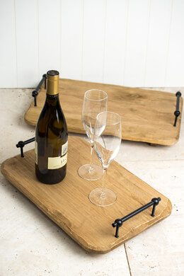 Natural Wood Serving Trays with Metal Handles (Set of Two)