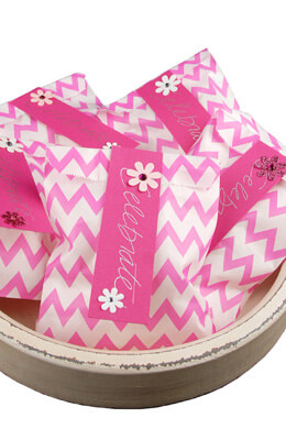 Treat Bags Chevron Pink 5x7in (Pack of 100)