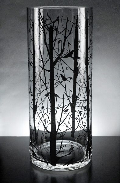 Glass Cylinder Vase With Tree Silhouette 14in