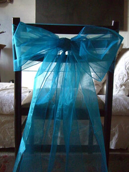 10 Organza Chair Bows in Turquoise