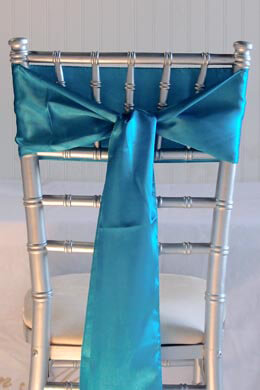 10 Turquoise Blue Satin Chair Sashes  6x108