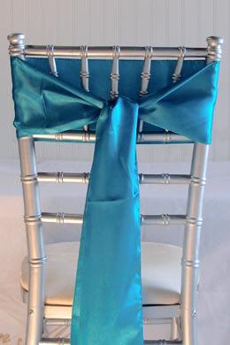 10 Turquoise Blue Satin Chair Sashes  6x106