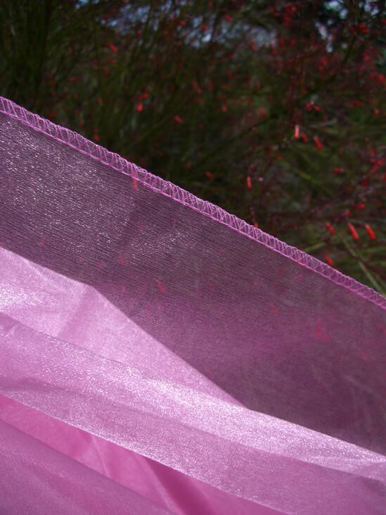 """Pink Hemmed Organza Sheet 54"""" x 9ft"""