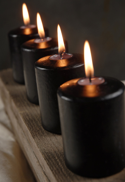 4 Black 3in Votive Candles