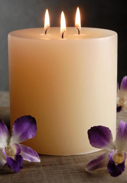 5x5 Ivory Pillar Candle   3 Wicks  80 hr burntime