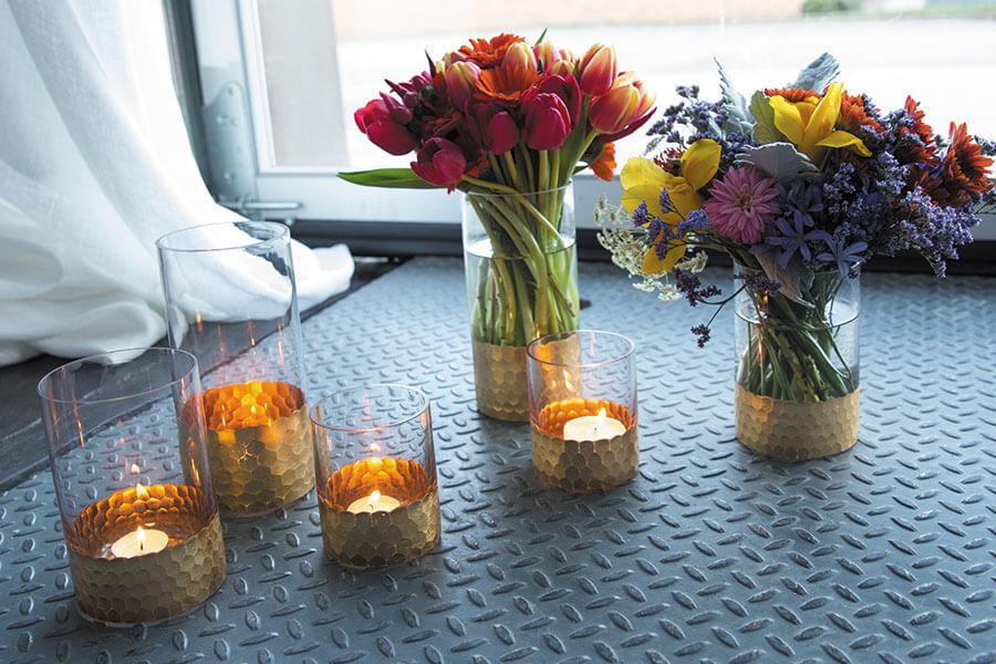 """Elsa Glass Floral Vase & Candle Holder 6"""""""