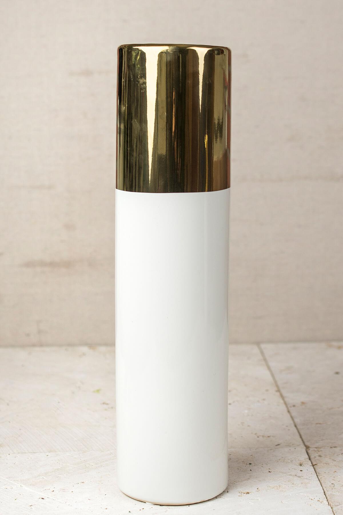 White & Gold 16in Klein Vase